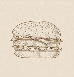 hamburger brown hand drawn sketch on beige vector image