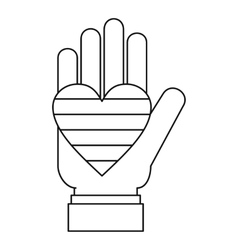Hand holding heart of LGBT icon outline style vector