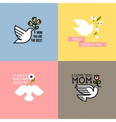 happy mothers day cards with dove and flowers vector image