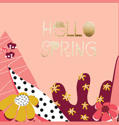 hello spring feminine flower collage banner vector image
