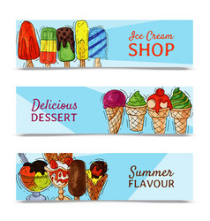 ice cream banner summer natural fresh and cold vector image
