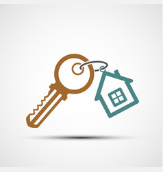 Icon key with keychain as a house vector