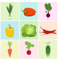 Icons fresh vegetables vector
