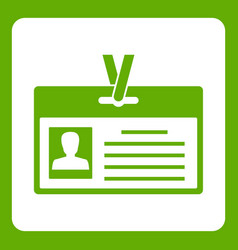 identification card icon green vector image