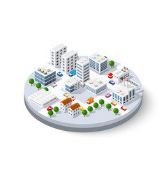 Isometric city with skyscrapers vector
