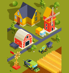 isometric landscape of village or farm with vector image