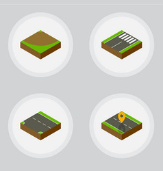 Isometric way set of downward footer navigation vector