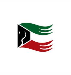 Kuwait horse flag combine logo design vector