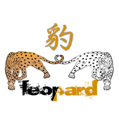 leopard 0006 the leopard hunts vector image