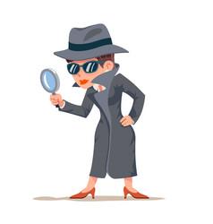 Little detective woman snoop magnifying glass tec vector