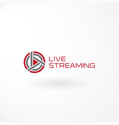 live streaming logo design with play button vector image