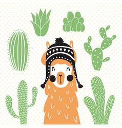 llama in sombrero vector image