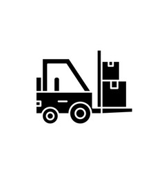 Loader in stock black icon sign on vector