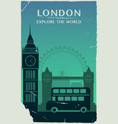 london city england silhouette in old style vector image