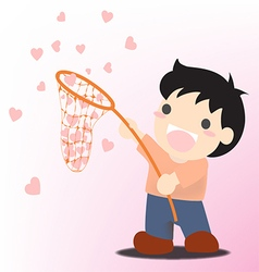 Man with a net catches flying heart search love vector