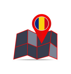 Map romania with country flags vector