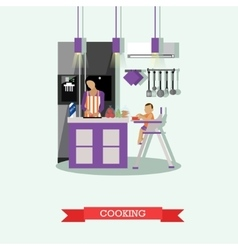 Mother cooking and babysitting her kid Kitchen vector