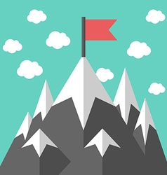 Mountains with red flag vector