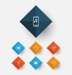 multimedia icons set collection of audio mobile vector image
