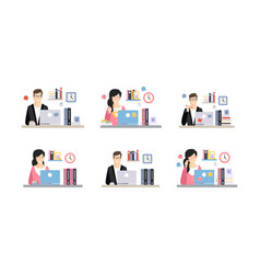 office workplace with mal and female employees set vector image