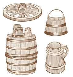 Old wooden mugs bucket vector