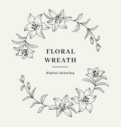 Oval floral wreath lily flower wreath elegant vector