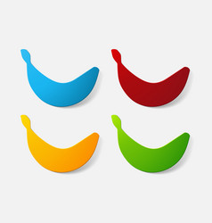 Paper clipped sticker fruit banana vector