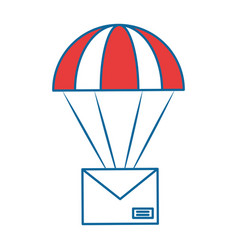Parachute with envelope mail isolated icon vector