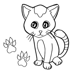 paw print with cat Coloring Page vector image