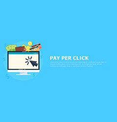 pay per click banner computer with money vector image