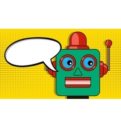 Pensive robot pop art style drawing blank vector