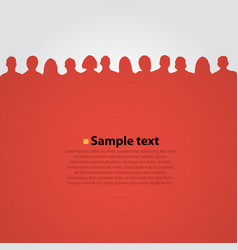 People heads silhouette red background vector