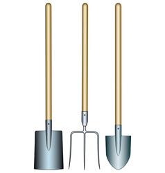 Pitchfork and shovels vector image