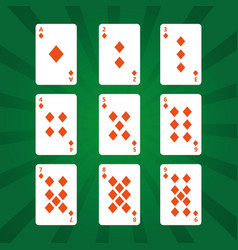 Poker playing cards diamonds suit on green vector