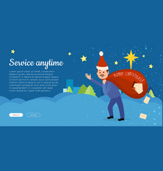 postman in christmas hat hurry to deliver letters vector image