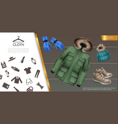 realistic mens clothes concept vector image