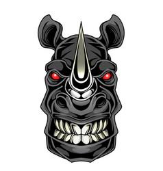 rhino head mascot logo design vector image