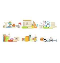 school subjects set history drafting music vector image