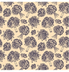 Seamless pattern made of peony bouquets vector image