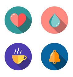 Set 4 flat icons - heart drop cup bell vector