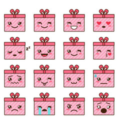 set of cute kawaii emoji vector image