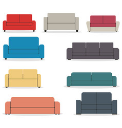 set of flat sofa icons vector image