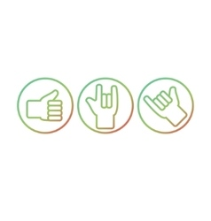 Set of hand gestures Thunb up rock on hang vector image