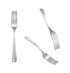 set of realistic metal forks vector image