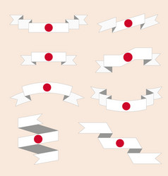 set of ribbons or banners with japan flag vector image