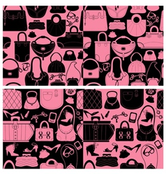 Set of seamless patterns with woman bags and handb vector image