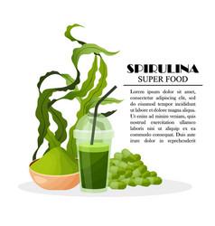 Spirulina poster with seaweeds powder pills vector