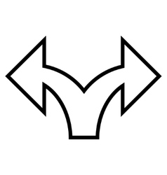 Split Arrow Left Right Contour Icon vector image