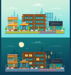 street day night banners set vector image