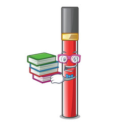 Student with book lip gloss above cartoon makeup vector